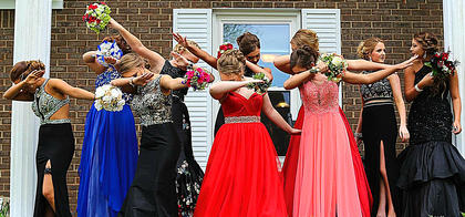 """Pictured, from left, are Maleah Williams, Kristian Richerson, Emma Edlin, Holly Hutchins, Lissy Walston, Paige Thomas, Taylor Simpson, Louise Lavin, Hannah Peterson and Sarah Hamilton doing """"The Dab."""""""
