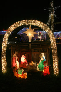 Multiple nativity scenes are on display throughout the farm.