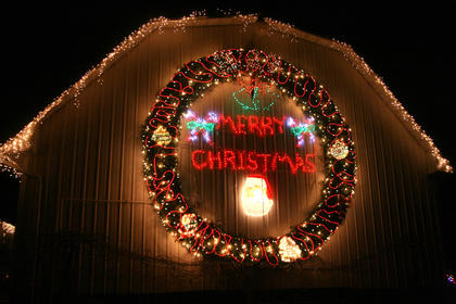 Another view of the newest addition to the Ruley light display. The wreath has an 18-foot diameter.