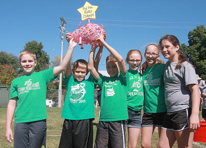 Calvary Elementary School is this year's Pig Pen Relay champion. The team members are (from left) Matthewl Miles, Will Hunt, Will Knight, Brooklynne Bland, Avery Cochran and Emma Sullivan.