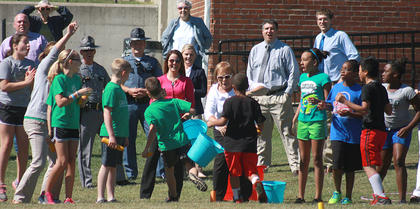The race came down to the last few steps of the last runners for Calvary Elementary (in green) and Lebanon Elementary.