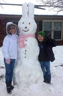 Lexie and Cade Wilkerson made a snow bunny. Their father, Gary, said it might last until Easter with the cold temperatures we've been experiencing lately.