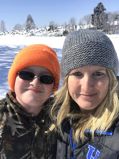 Tammy Washburn and her son Brandon Estes take a selfie in the snow.