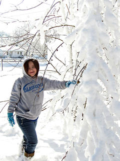 Marisha Mitchell plays in the snow.