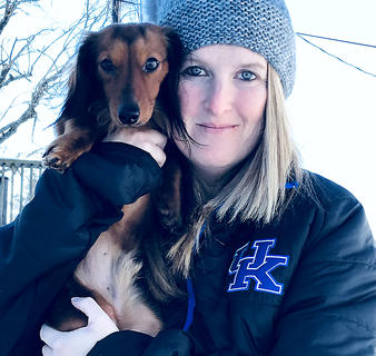 Butterball experiences his first snowfall. Butterball's proud owners are Tammy Sipes and her son Brandon Estes.