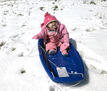 Ruby Downs enjoys her first sleigh ride on March 12.