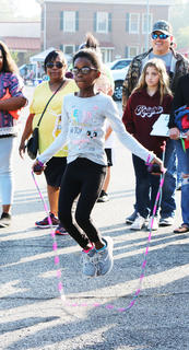 Dashiah Francisco led a strong competition in the hula hoop playground contest at St. A's on Sept. 29, before taking second place.