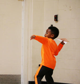 Look at that form! Darian Young won first place in the paper airplane contest at St. A's on Sept. 29.
