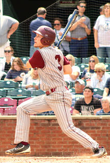 Designated Hitter Landon Russell drives in a pair of runs in the fifth inning to give Marion County its first lead against Hazard.