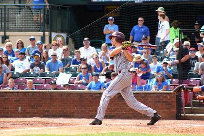 Andrew Spalding watches his first-inning homerun leave the park.
