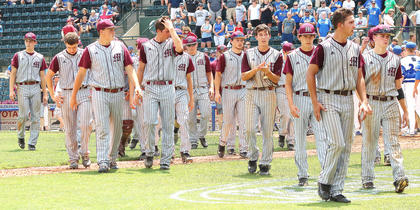 The Knights walk off the field for the final time after falling to Simon Kenton, 5-2.