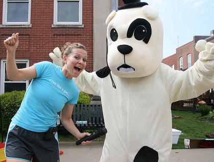 Stevie Lowery joins the GES Bulldog for a bit of dancing.