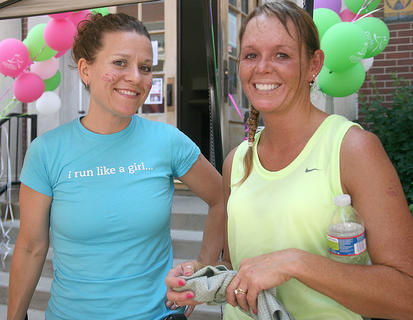 """Stevie Lowery chats with Sharon """"Sam"""" Bach after Bach finished her turn on the treadmills."""