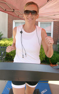 GES teacher Sarah Martin is all smiles during her run.