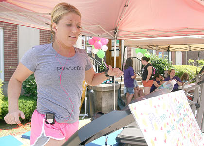 """Ann Dabney, """"the best running buddy ever"""", pushes through for 30 minutes."""