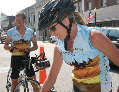 Nisha and Greg West biked 102 miles from Monticello to Lebanon as part of the fund-raiser.