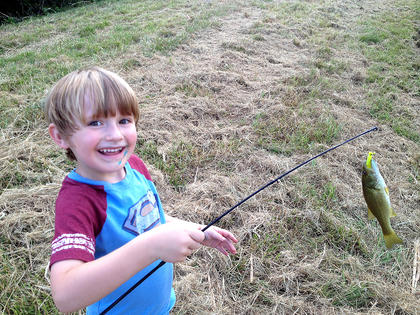 Jackson Truit, 5, shows off his first solo catch!