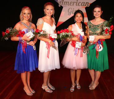 Pictured, from left, is Caroline Reed (third runner-up), Carly Mattingly (second runner-up), Sophie Clark and Anna Winebrenner (first runner-up).