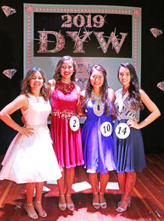 Pictured, from left, are third runner-up Fernanda Reyes, second runner-up Tessa Hillman, first runner-up Mya Emmons and the 2019 Marion County Distinguished Young Woman Kelly Miles.