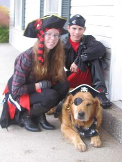 Pirates Emily and Nick Yaden with their matey dog, Trevor, Halloween 2015.